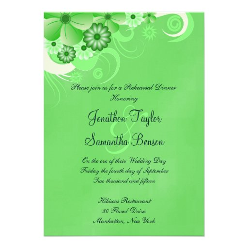 Green Hibiscus Wedding Rehearsal Dinner Invites Custom Announcements