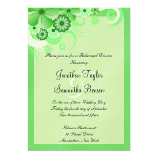 Green Hibiscus Wedding Rehearsal Dinner Invites Custom Invite