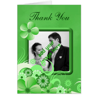Green Hibiscus Wedding Thank You Photo Note Cards