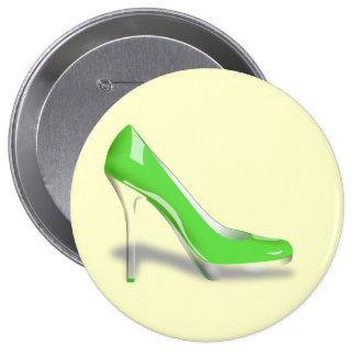 Green High Heel Shoe Round Button