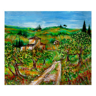 Green Hills And Olive trees Tuscany Landscape Poster