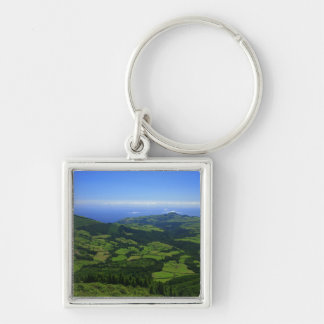 Green hills - Azores islands Silver-Colored Square Key Ring