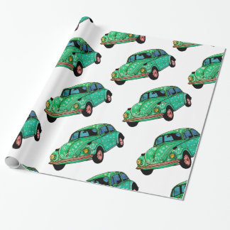 Green hippie Car Mandala Wrapping Paper
