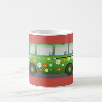 Green Hippie Flower Power 60's Van Peace and Love Coffee Mug