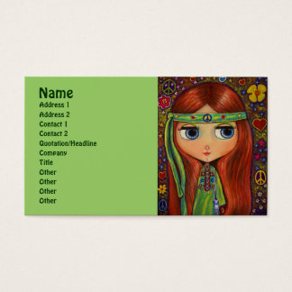 Green Hippie with Peace Sign Headband Business Card