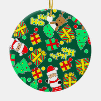 Green - Ho Ho Santa Ceramic Ornament