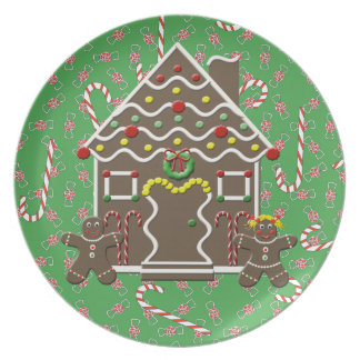 Green Holiday Gingerbread House Christmas Plate