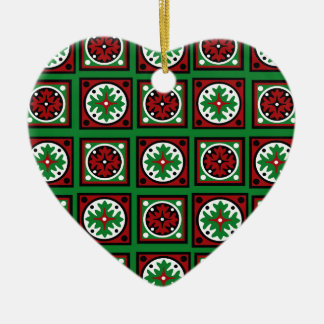 Green Holiday Quilt Ceramic Ornament