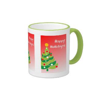Green Holiday Tree on Red Coffee Mug