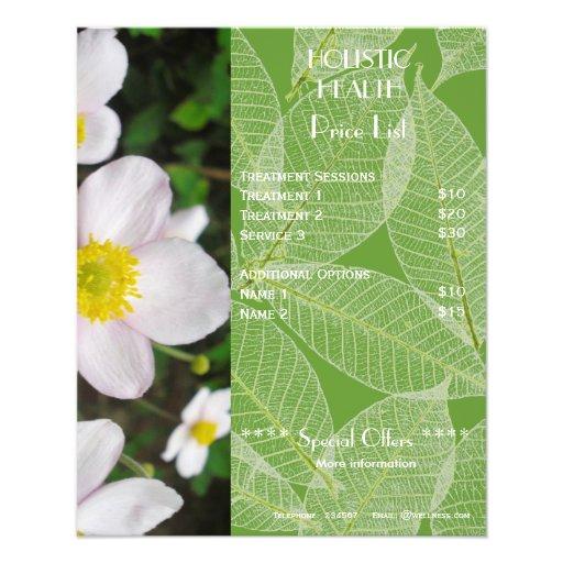 Green holistic health price list flyer