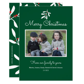 Green Holly & Berries Merry Christmas 2017 Card