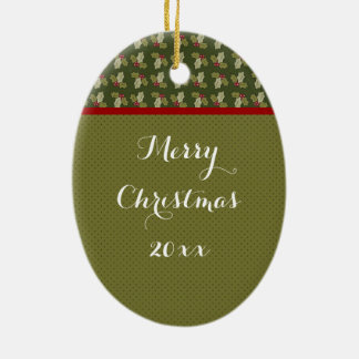 Green Holly Christmas Ornament