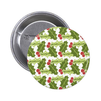 Green Holly Leaves and Red Berries Pattern Pinback Buttons