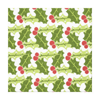 Green Holly Leaves and Red Berries Pattern Canvas Prints