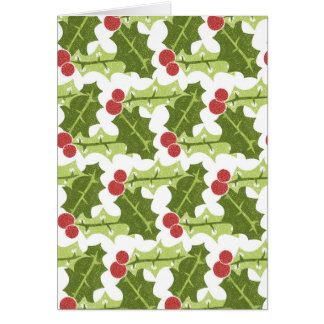 Green Holly Leaves and Red Berries Pattern Greeting Card