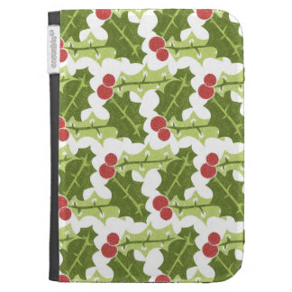 Green Holly Leaves and Red Berries Pattern Kindle Cover