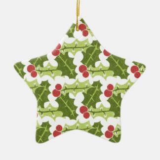 Green Holly Leaves and Red Berries Pattern Ceramic Star Decoration