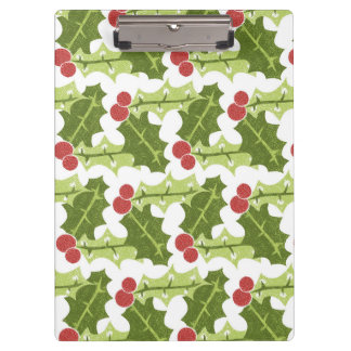 Green Holly Leaves and Red Berries Pattern Clipboard