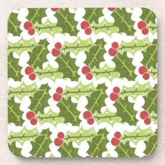 Green Holly Leaves and Red Berries Pattern Coasters