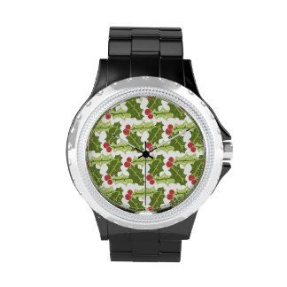 Green Holly Leaves and Red Berries Pattern Watch