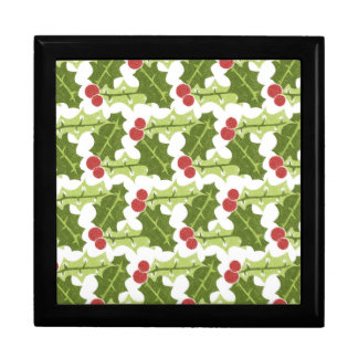 Green Holly Leaves and Red Berries Pattern Trinket Boxes