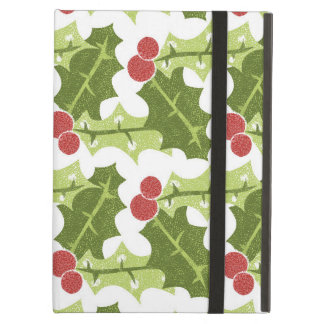 Green Holly Leaves and Red Berries Pattern Cover For iPad Air