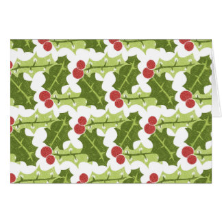 Green Holly Leaves and Red Berries Pattern Note Card