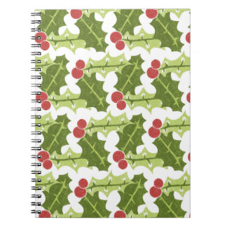 Green Holly Leaves and Red Berries Pattern Spiral Note Book