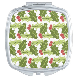 Green Holly Leaves and Red Berries Pattern Vanity Mirrors