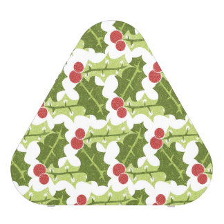 Green Holly Leaves and Red Berries Pattern