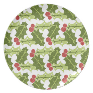 Green Holly Leaves and Red Berries Pattern Party Plates