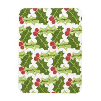 Green Holly Leaves and Red Berries Pattern Rectangular Magnet