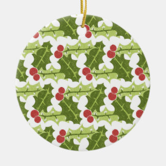 Green Holly Leaves and Red Berries Pattern Round Ceramic Decoration