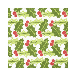 Green Holly Leaves and Red Berries Pattern Stretched Canvas Print