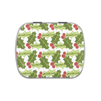 Green Holly Leaves and Red Berries Pattern Jelly Belly Candy Tin