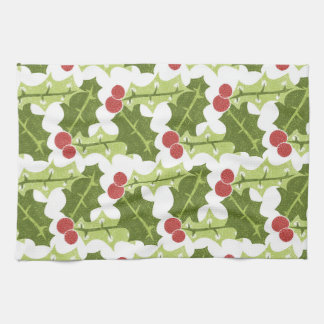 Green Holly Leaves and Red Berries Pattern Kitchen Towels