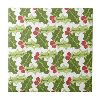 Green Holly Leaves and Red Berries Pattern Ceramic Tiles