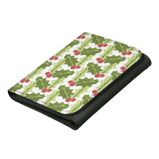 Green Holly Leaves and Red Berries Pattern Leather Trifold Wallet
