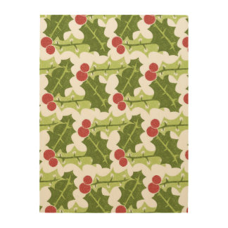 Green Holly Leaves and Red Berries Pattern Wood Print