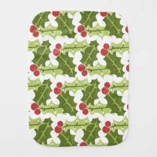 Green Holly Leaves and Red Berries Pattern Burp Cloth