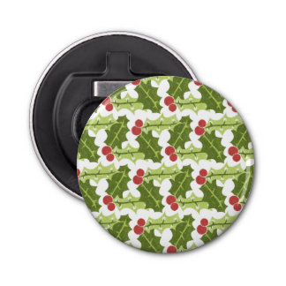 Green Holly Leaves and Red Berries Pattern Button Bottle Opener
