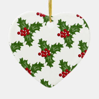 Green Holly Leaves With Red Berries Ceramic Heart Decoration