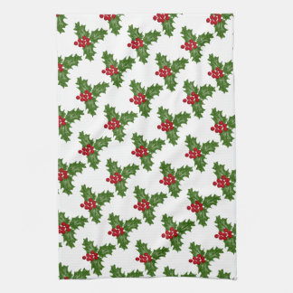 Green Holly Leaves With Red Berries Hand Towel