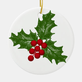 Green Holly Leaves With Red Berries Round Ceramic Decoration