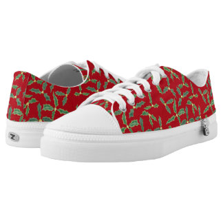 Green Holly Leaves Yellow Flowers Holiday Shoes Printed Shoes