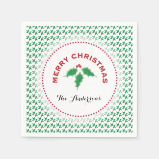 Green Holly, Merry Christmas Personalized Disposable Serviette