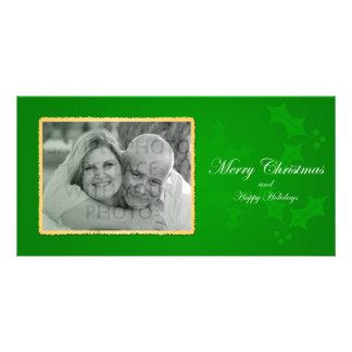 Green Holly Photo Christmas Card Customised Photo Card