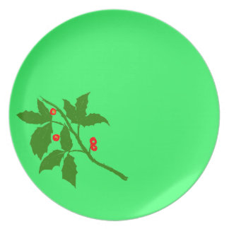 Green Holly Plate