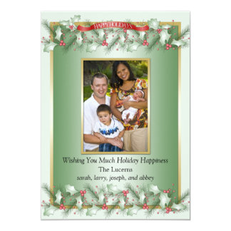 "Green Holly Red Berries Photo Christmas Card 5"" X 7"" Invitation Card"