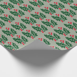 Green Holly & Red Berries Wrapping Paper
